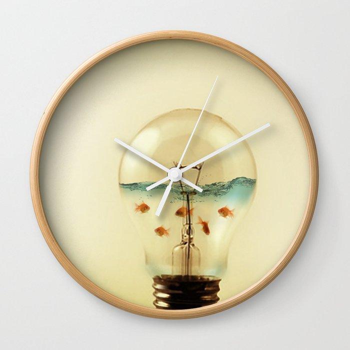gold fish globe Wall Clock