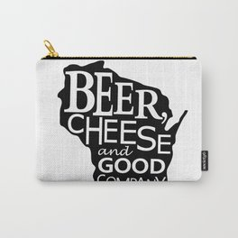 Black and White Beer, Cheese and Good Company Wisconsin Graphic Carry-All Pouch