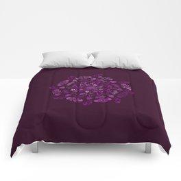 Purple love hearts mandala Comforters