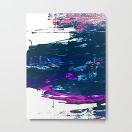 Curiosity: a vibrant minimal abstract mixed-media piece in blue and pink by Alyssa Hamilton Art Metal Print