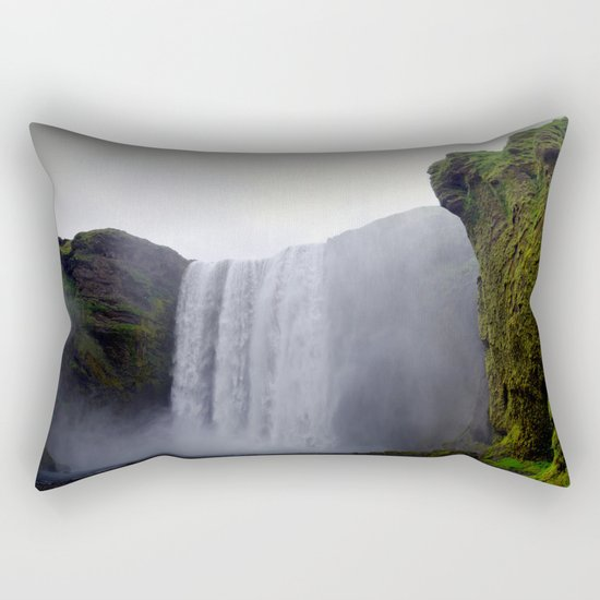 skogafoss waterfall, iceland. Rectangular Pillow