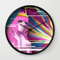 princess bubblegum Wall Clocks featuring Princess Bubblegum by Kimball Gray