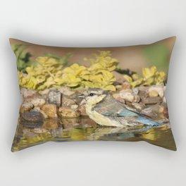 young bird bathes Rectangular Pillow
