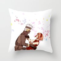 kakashi Throw Pillows featuring Fleeting Beauty by Pamianime