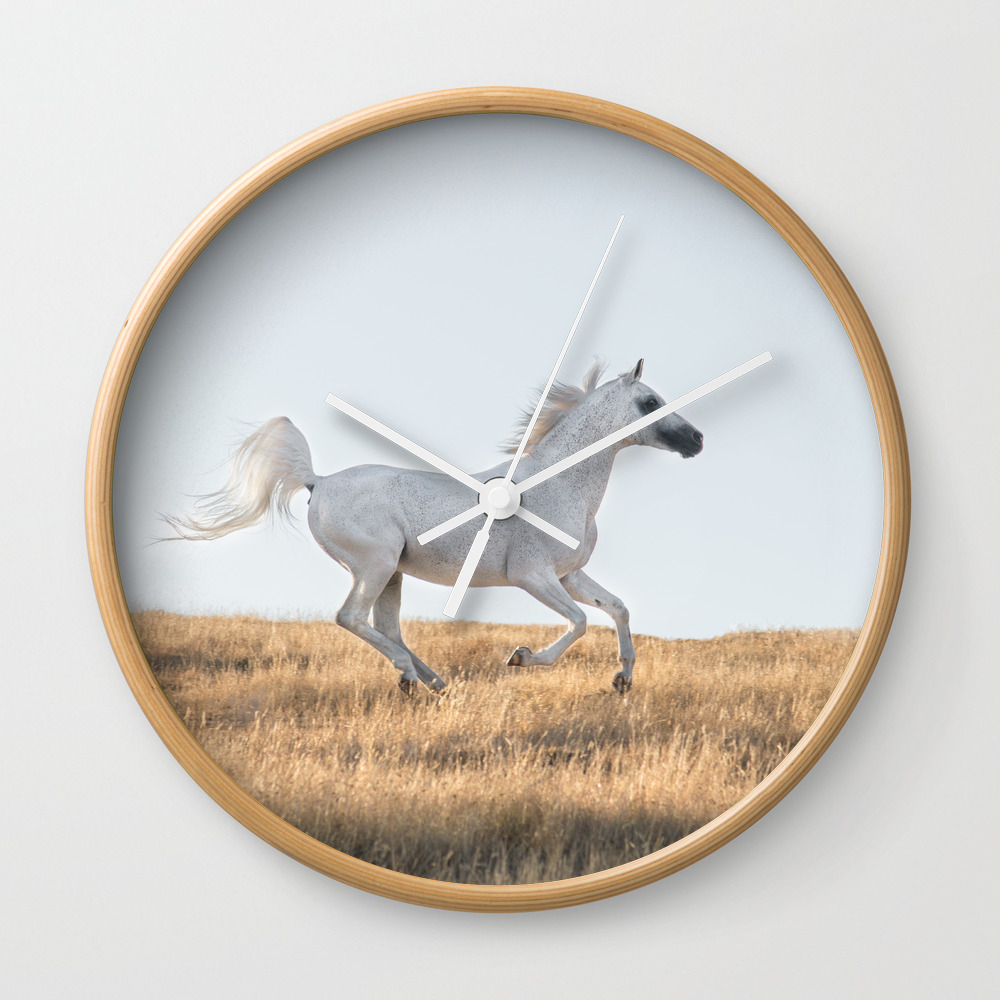 White Stallion Wall Clock by Flowersforhorses CLK8718262