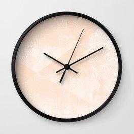 Peach/Apricot and White Geometric Triangles Lino Textured Print Wall Clock
