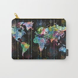 world map mandala black 1 Carry-All Pouch
