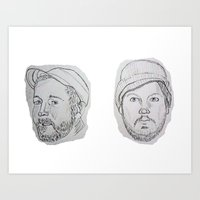 modest mouse Art Prints featuring Modest Beards by Haley Erin