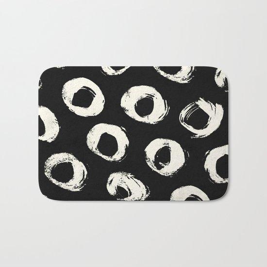 Polka Dots Cream on Black 2 Bath Mat