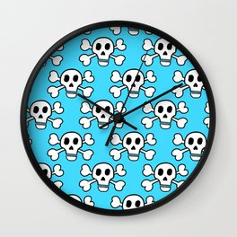 Skulls in Blue Wall Clock