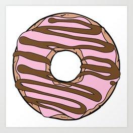Pink Donut, Donut Frosting, Chocolate Icing, Glaze Art Print