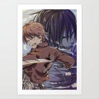 snk Art Prints featuring SnK-Eren by Gin-Uzumaki