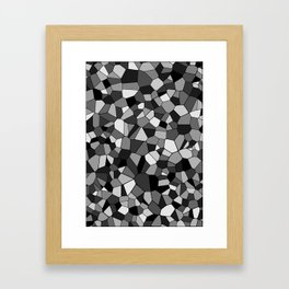 Black And Gray Monochrome Geometric Mosaic Pattern Framed Art Print