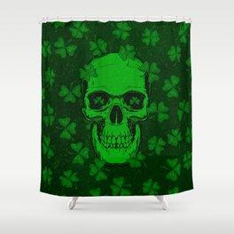 Retro Clover Shamrock Skull Shower Curtain