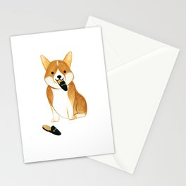 Corgi with Shoes Stationery Cards