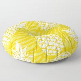Bright Yellow, Summer, Pineapple Art Floor Pillow