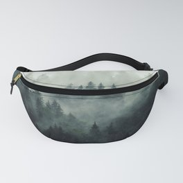 Misty pine fir forest landscape in hipster vintage retro style Fanny Pack