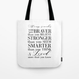 Inspirational Quote Winnie The Pooh Quote Print Typography Print Quote You Are The Braver Than You.. Tote Bag