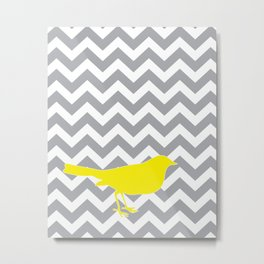 Yellow Bird on Gray Chevron Metal Print