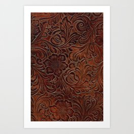 Burnished Rich Brown Tooled Leather Art Print