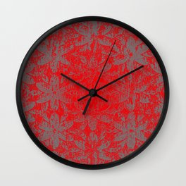 Snowy Red Halftone Flowers Wall Clock