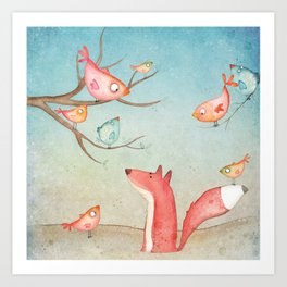 Gabriel's tales: Fox and the birds Art Print