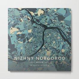 Nizhny Novgorod, Russia - Cream Blue Metal Print