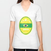 neymar V-neck T-shirts featuring World Cup Football 1/8 - Brasil (Distressed) by Made of Thoughts