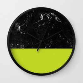 Lime Punch Meets Black Marble #1 #decor #art #society6 Wall Clock