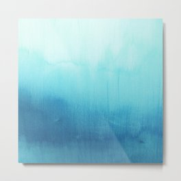 Modern teal sky blue paint watercolor brushstrokes pattern Metal Print