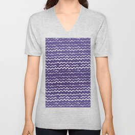 Abstract violet white watercolor geometrical chevron zigzag Unisex V-Neck