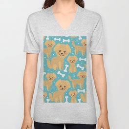 pattern funny golden beige dog and white bones, Kawaii face with large eyes and pink cheeks Unisex V-Neck