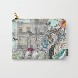 """""""Penguins in the city""""  Illustrated print Carry-All Pouch"""