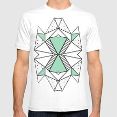 Ab Lines and Spots Mint SMALL White Mens Fitted Tee