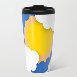 Blue sky with clouds and sun Travel Mug