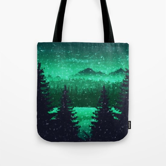 Snowing in the forest Tote Bag