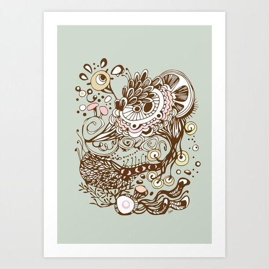 Zentangle green flower roots doodle Art Print