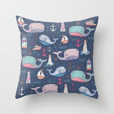 Whale Toss Throw Pillow