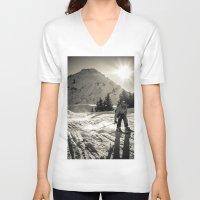 ski V-neck T-shirts featuring ski by Sébastien BOUVIER
