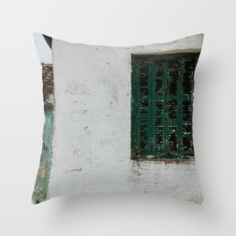 Abandoned street with green shutters in Maries | Colourful Travel Photography | Zakynthos, Greece (Zante) Throw Pillow