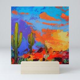 Saguaros Land Sunset - square version Mini Art Print