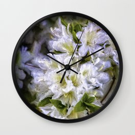 White Rhododendron Wall Clock