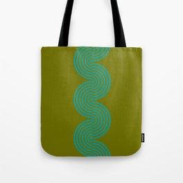 groovy minimalist pattern aqua waves on olive Tote Bag