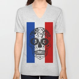 Mexican Skull With French Flag Unisex V-Neck