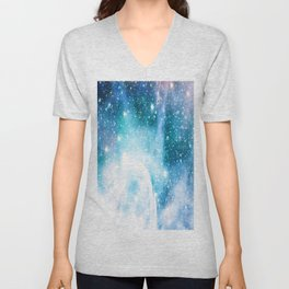 Blue Turquoise Nebula Unisex V-Neck