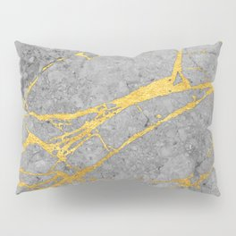 Grey Marble and Gold Pillow Sham
