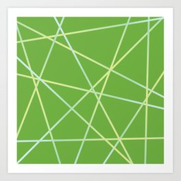Lines 92 - lime and pale turquoise on greenery Art Print