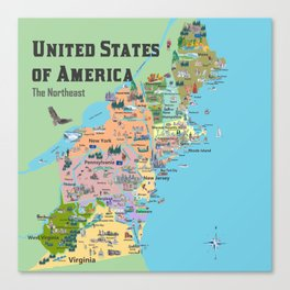 USA Northeast States Colorful Travel Map VA WV MD PA NY MS CT RI VE DE NJ With Highlights And Favori Canvas Print