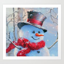 Snowman in the Woods Art Print