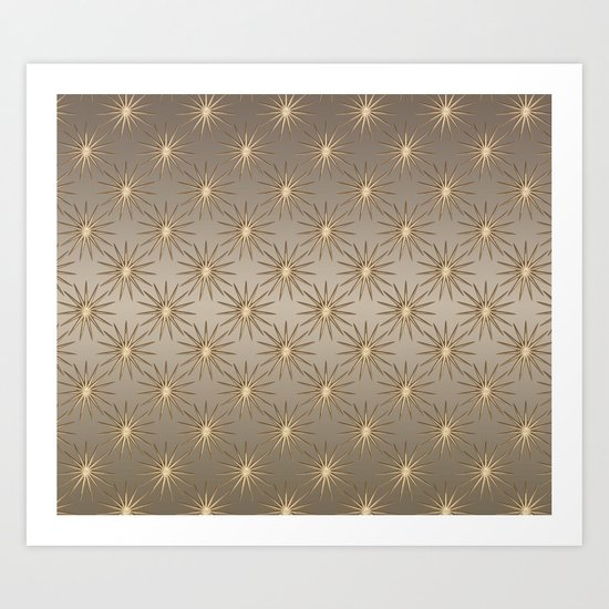 elegant shimmering golden Star pattern Art Print